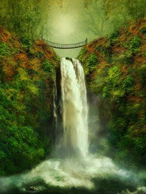 Póster fantástica cascada y puente