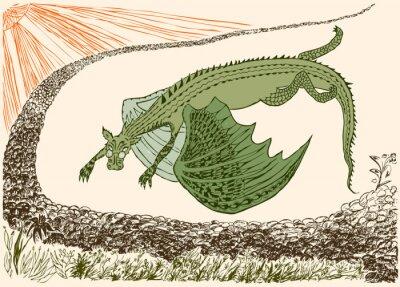 Póster Fantástico dragón ha llegado