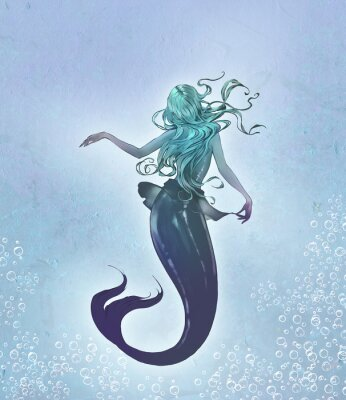 Póster Fantasy original raster illustration of a cute and beautiful anime mermaid with long blue curly  hair with her back to the viewer