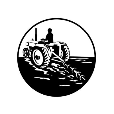 Farmer Driving a Vintage Tractor Viewed From Rear Circle Retro Black and White