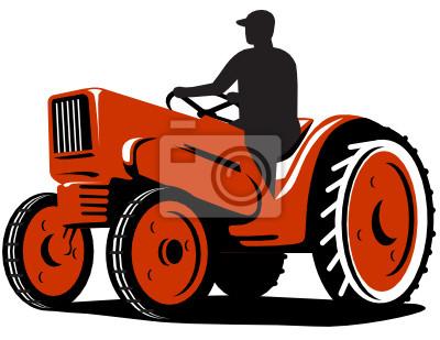 Farmer Driving Tractor Vintage Retro