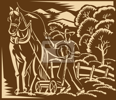 Farmer Farming Plowing With Farm Horse Woodcut