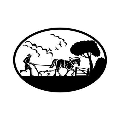Farmer Plowing Farm Field Oval Retro Woodcut Black and White