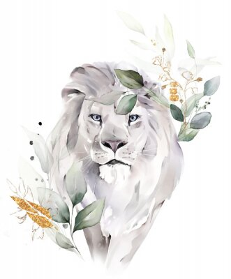 Póster fashion watercolor illustration. Drawing - lion with tree leaves. Botanic and animal print isolated on white background