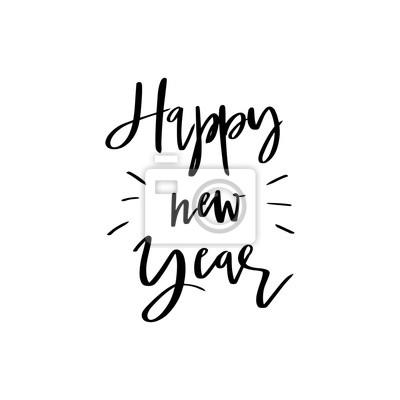 Feliz Año Nuevo Letras Caligrafía Ilustración Vectorial