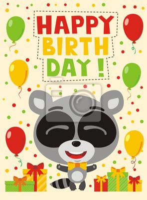 Feliz Cumpleaños Mapache Divertido Con Los Regalos Y Los Globos