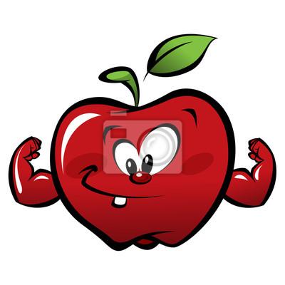 Feliz De Dibujos Animados Fuerte Manzana Roja Haciendo Un Gesto