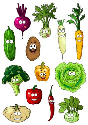 Póster Feliz sonriente hortalizas frescas