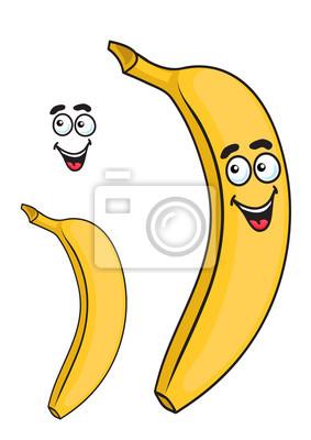 Feliz Sonriente Platano Dibujos De Frutas De Color Amarillo Carteles