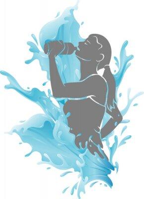 Póster Female Drinking Fresh Water