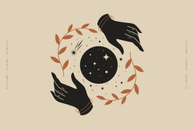 Póster Female hands hold branches around the shimmering moon. Magic vector illustration in trendy minimal style. Mystical symbols for spiritual practices, ethnic magic, and astrological rites.