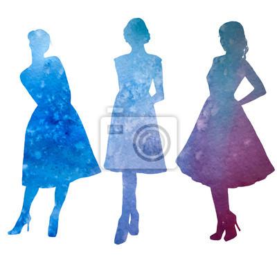 femenino, modelo, acuarela