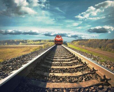 Póster Ferrocarril con un tren de carga