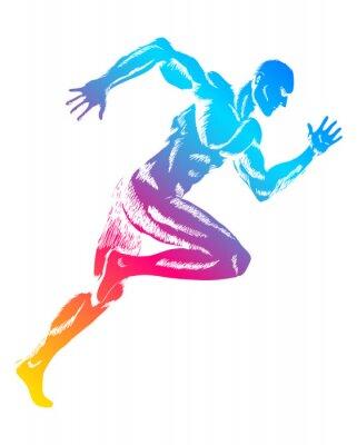 Póster Figura colorida de un hombre corriendo