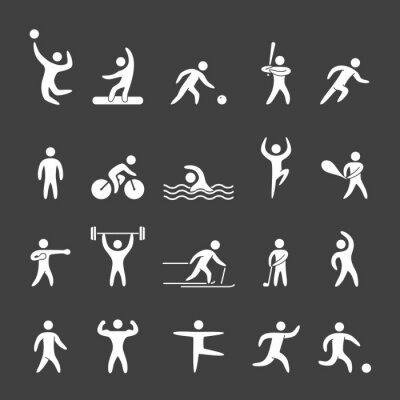 Póster Figuras de la silueta de los atletas de deportes populares