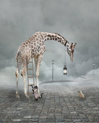 Póster Find a friend – Surreal conceptual illustration of a giraffe meeting a baby chicken
