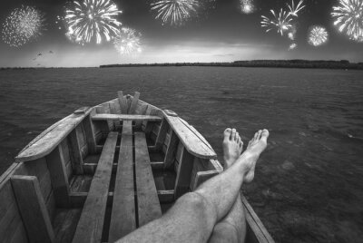 Firework at the night sky. Black and white