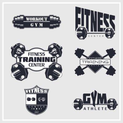 Póster Fitness, gimnasio, emblemas de culturismo