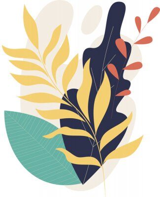 Póster Flat modern floral foliage illustration on the white isolated background. Abstract shapes.