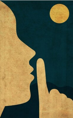 Póster Flat style illustration of the hush gesture during a quiet night with full moon