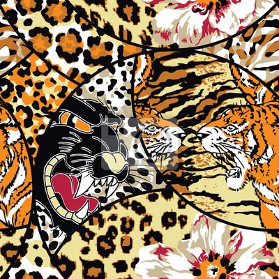 Flor animal salvaje y pieles patrón abstracto parche vector inconsútil wallpaper