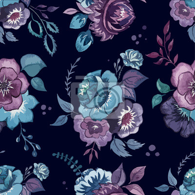 flores, acuarela, modelo, papel pintado, textiles