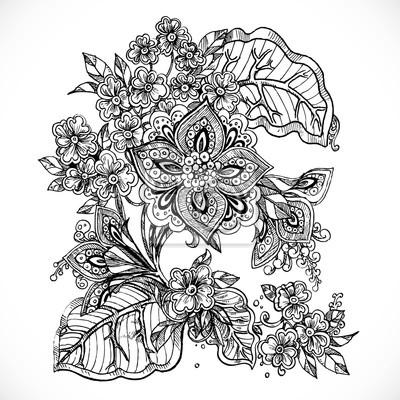 Flores De Dibujo De Fantasia En Blanco Y Negro En Pequeno Arbusto