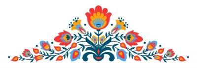 Póster Flores polacas del estilo del papercut del folk