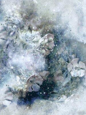 Póster Flovers y el fondo de invierno, arte de estilo antiguo, collage de la computadora.