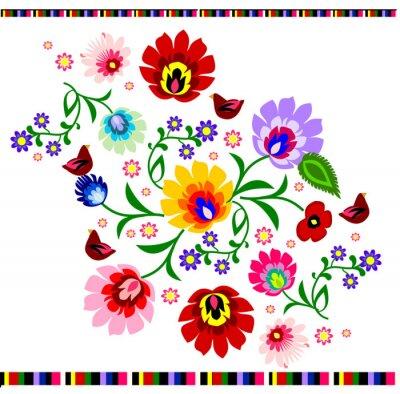 Póster Folk patrón floral polaca tradicional vector