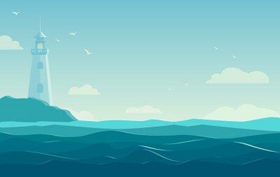 Póster Fondo azul del mar con las ondas y el faro. Ilustración vectorial