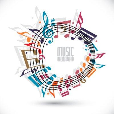 Póster Fondo colorido de la música con clave y algunas notas, hoja de música en ro