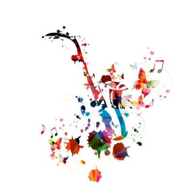 Póster Fondo colorido de la música con el saxofón