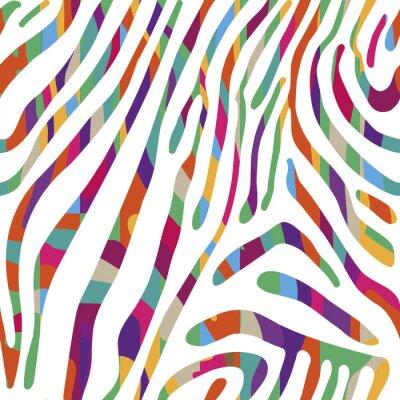 Póster Fondo con el patrón colorido de piel de cebra