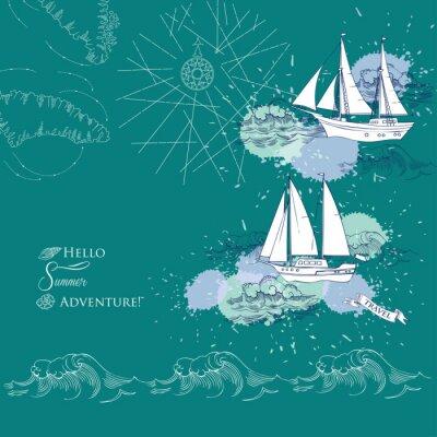Póster Fondo con los barcos y las ondas. Mar dibujado mano, ondas y yates. Ilustración vectorial
