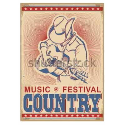 Póster Fondo de festival de música estadounidense con músico tocando la guitarra. Cartel retro vector con texto en papel viejo