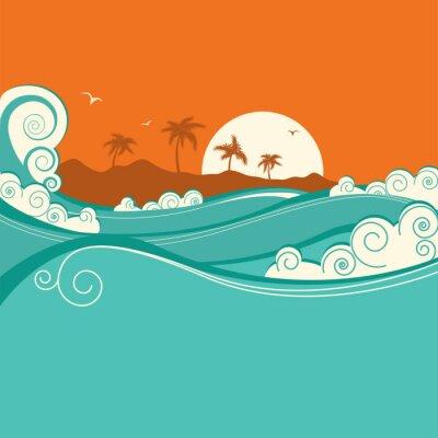 Póster Fondo de mar ilustración.Vector