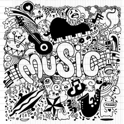 Póster Fondo de música abstracta Dibujo de mano Doodle, vector illustratio