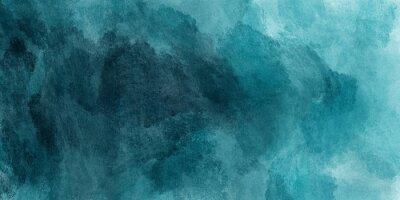 Póster Fondo de pintura abstracta de acuarela de color verde azulado azul y verde con textura de líquido líquido para el fondo, banner