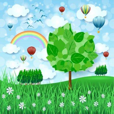Póster Fondo de primavera con gran árbol y globos de aire caliente