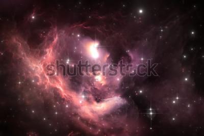 Póster Fondo del espacio del cielo nocturno con nebulosa y estrellas, ilustración