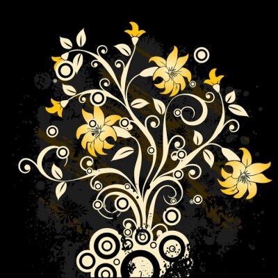 Póster fondo floral del grunge