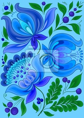Fondo Floral Dibujado A Mano Con Flores De Colores Frios Carteles