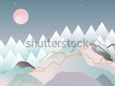 Póster Fondo geométrico minimalista abstracto. Diseño japonés Ilustración vectorial Diseño de mármol