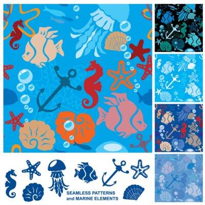 Póster Fondo transparente con la vida marina