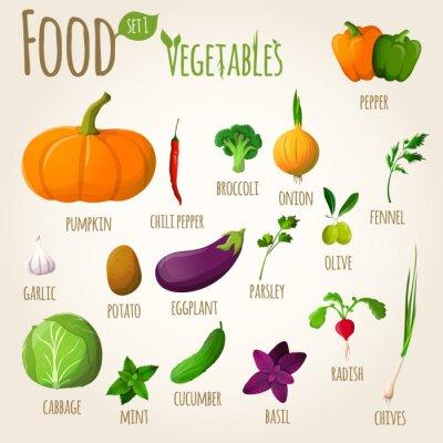 Póster Food vegetables set