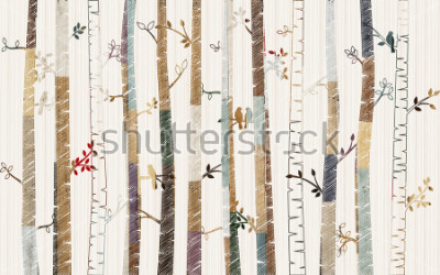 Póster Forest tree pattern on decorative background wallpaper