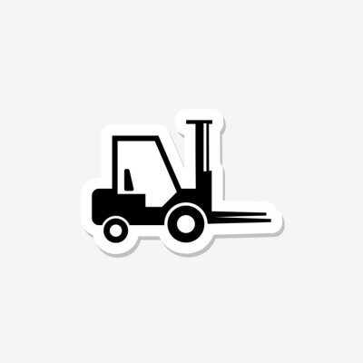 Forklift solid sticker icon isolated on gray background