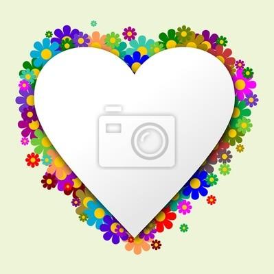 Forma de corazón con flores en el fondo
