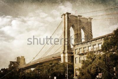 Póster Foto de estilo vintage de puente de Brooklyn en la ciudad de Nueva York